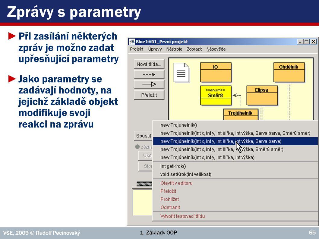 Zprávy s parametry Při zasílání některých zpráv je možno zadat upřesňující parametry.