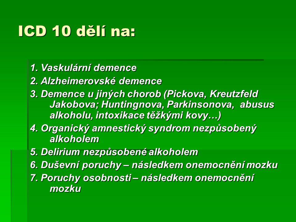 ICD 10 dělí na: 1. Vaskulární demence 2. Alzheimerovské demence