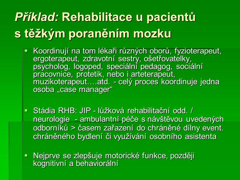 Příklad: Rehabilitace u pacientů s těžkým poraněním mozku