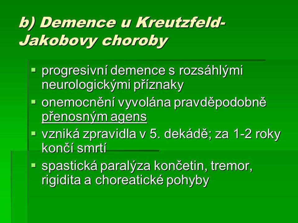 b) Demence u Kreutzfeld-Jakobovy choroby