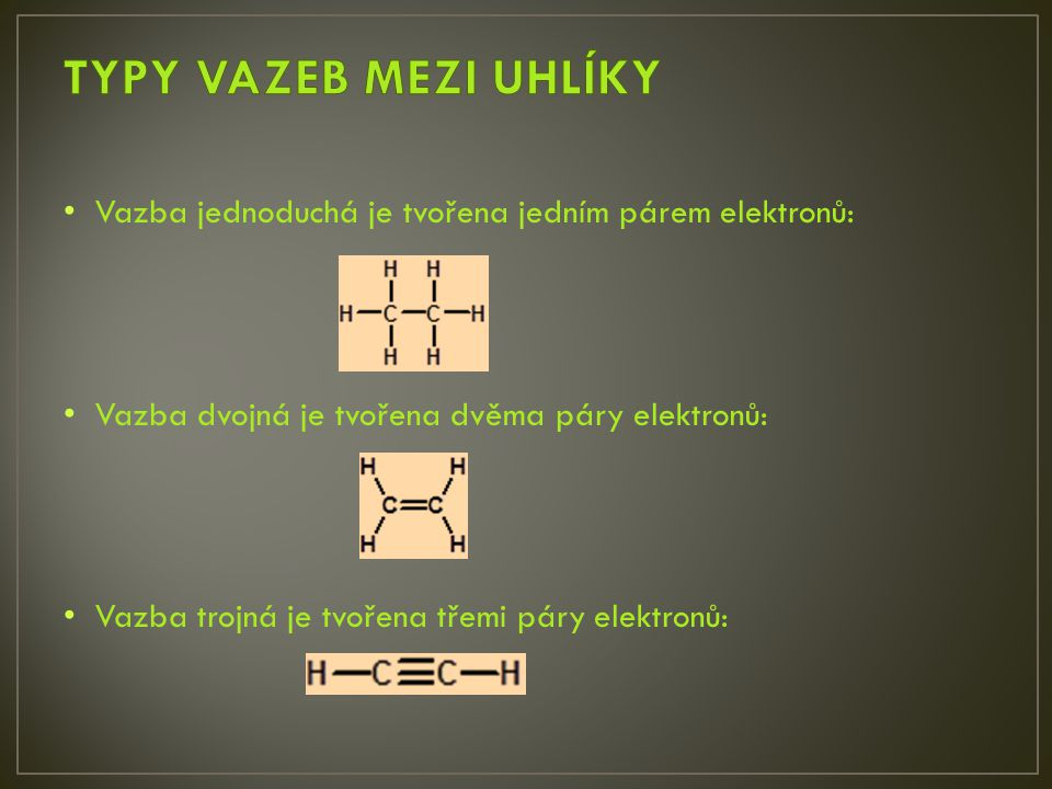 TYPY VAZEB MEZI UHLÍKY Vazba jednoduchá je tvořena jedním párem elektronů: Vazba dvojná je tvořena dvěma páry elektronů: