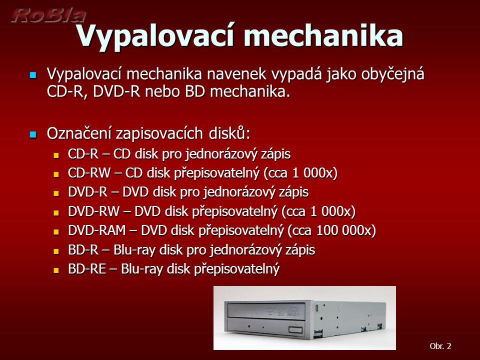 Vypalovací mechanika Vypalovací mechanika navenek vypadá jako obyčejná CD-R, DVD-R nebo BD mechanika.