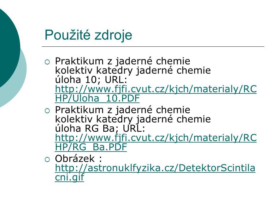 Použité zdroje Praktikum z jaderné chemie kolektiv katedry jaderné chemie úloha 10; URL: http://www.fjfi.cvut.cz/kjch/materialy/RCHP/Uloha_10.PDF.