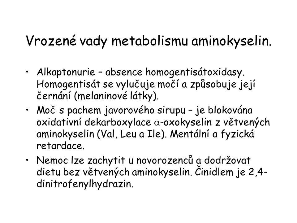 Vrozené vady metabolismu aminokyselin.