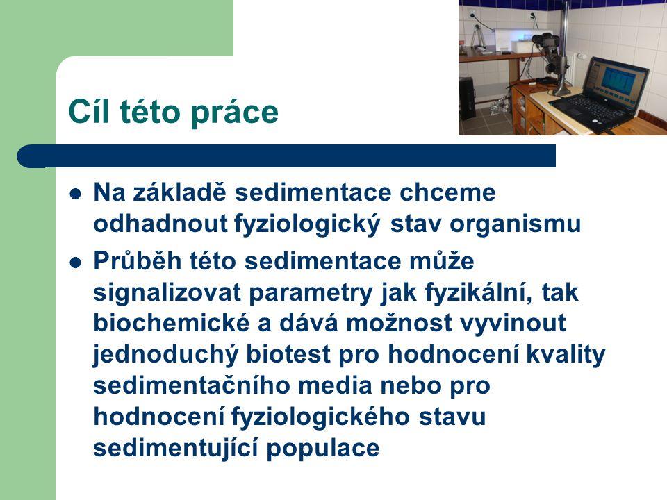 Cíl této práce Na základě sedimentace chceme odhadnout fyziologický stav organismu.