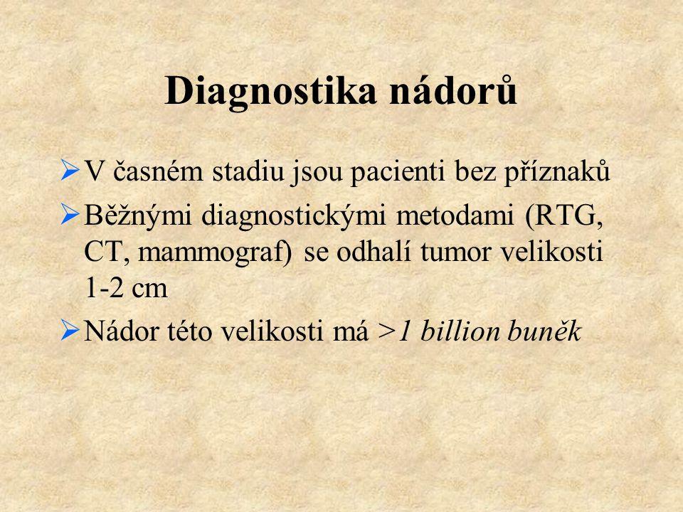 Diagnostika nádorů V časném stadiu jsou pacienti bez příznaků