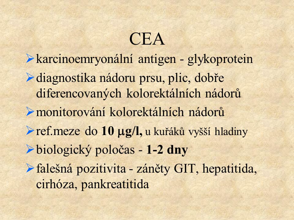 CEA karcinoemryonální antigen - glykoprotein