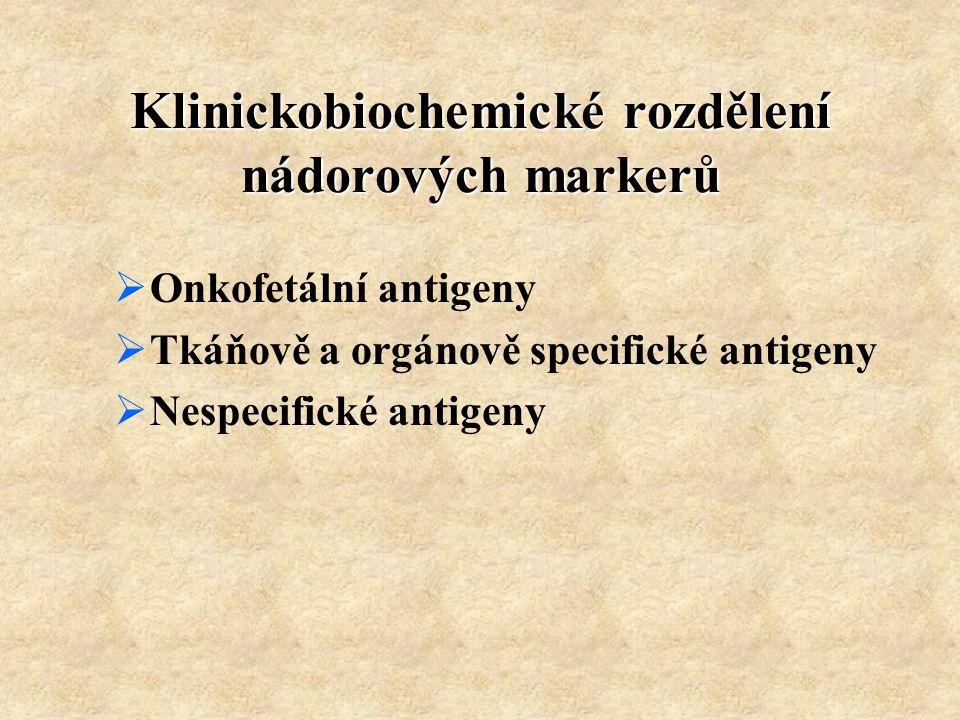 Klinickobiochemické rozdělení nádorových markerů