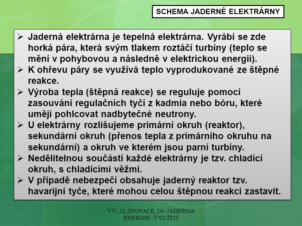 SCHEMA JADERNÉ ELEKTRÁRNY
