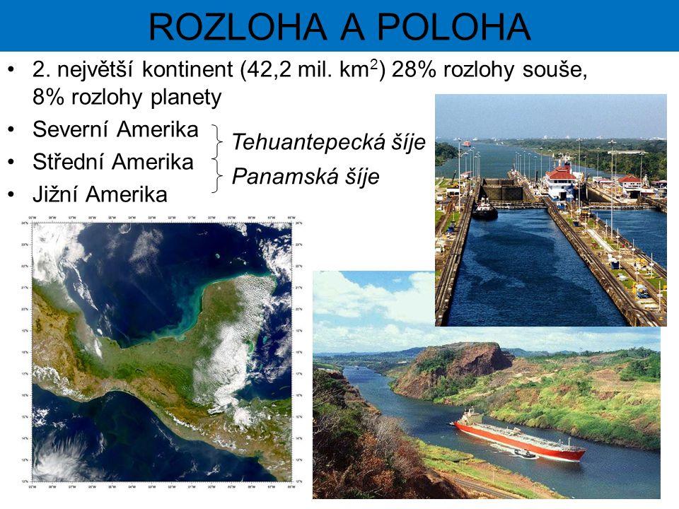 ROZLOHA A POLOHA 2. největší kontinent (42,2 mil. km2) 28% rozlohy souše, 8% rozlohy planety. Severní Amerika.
