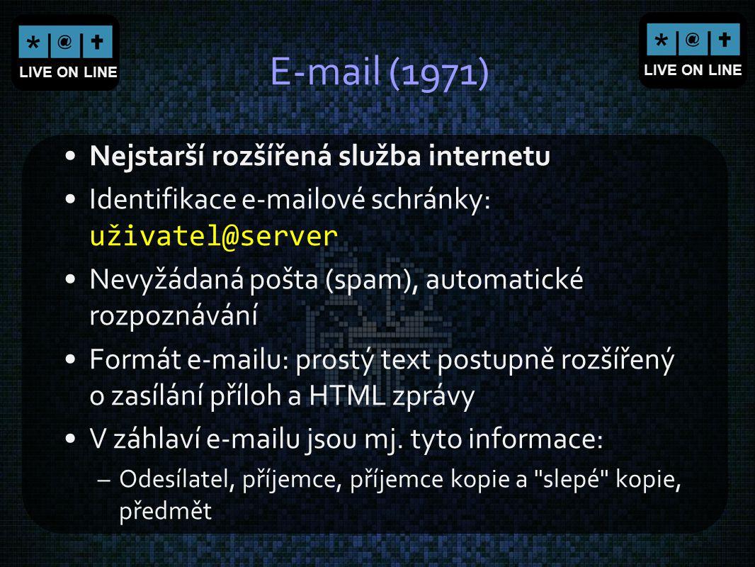 E-mail (1971) Nejstarší rozšířená služba internetu