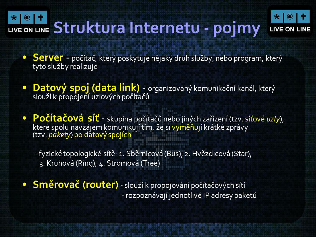 Struktura Internetu - pojmy