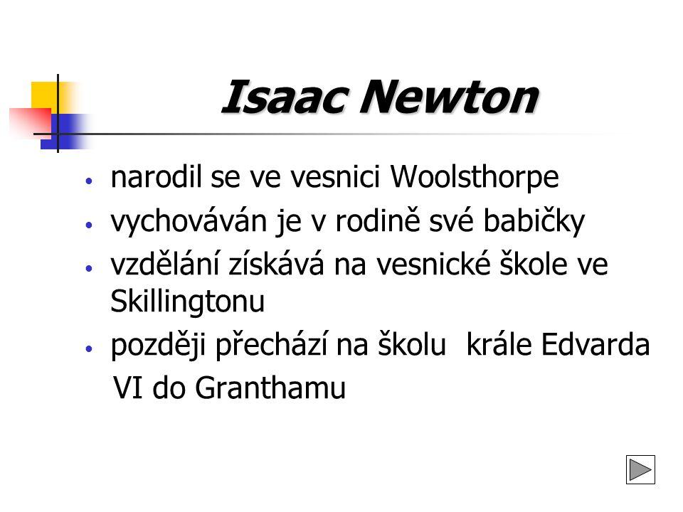 Isaac Newton narodil se ve vesnici Woolsthorpe
