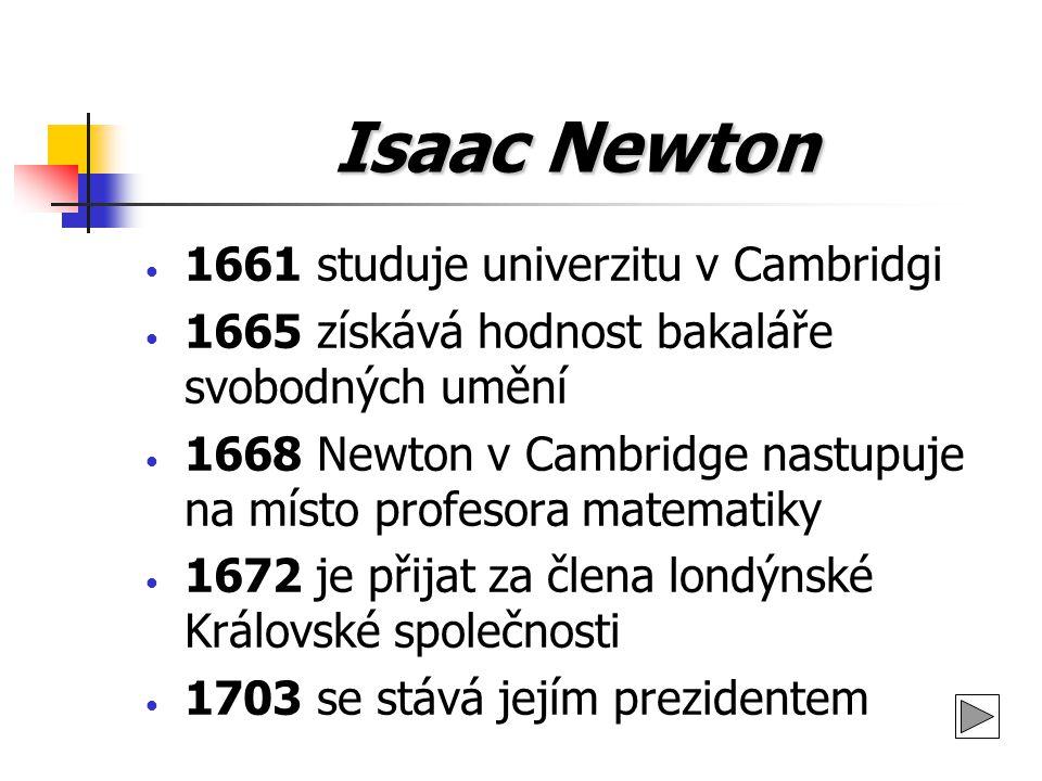 Isaac Newton 1661 studuje univerzitu v Cambridgi