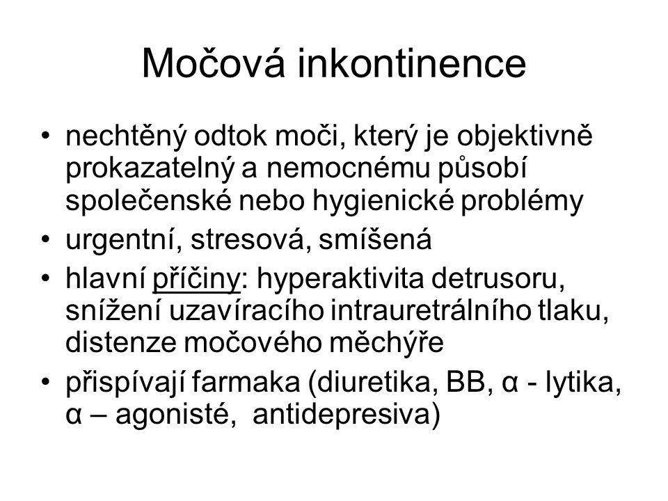 Močová inkontinence nechtěný odtok moči, který je objektivně prokazatelný a nemocnému působí společenské nebo hygienické problémy.