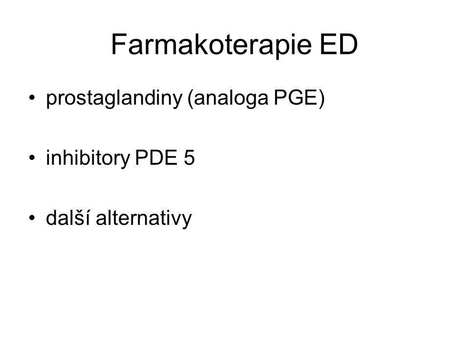 Farmakoterapie ED prostaglandiny (analoga PGE) inhibitory PDE 5
