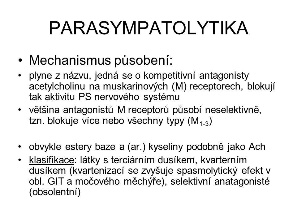 PARASYMPATOLYTIKA Mechanismus působení: