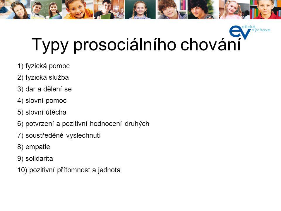 Typy prosociálního chování