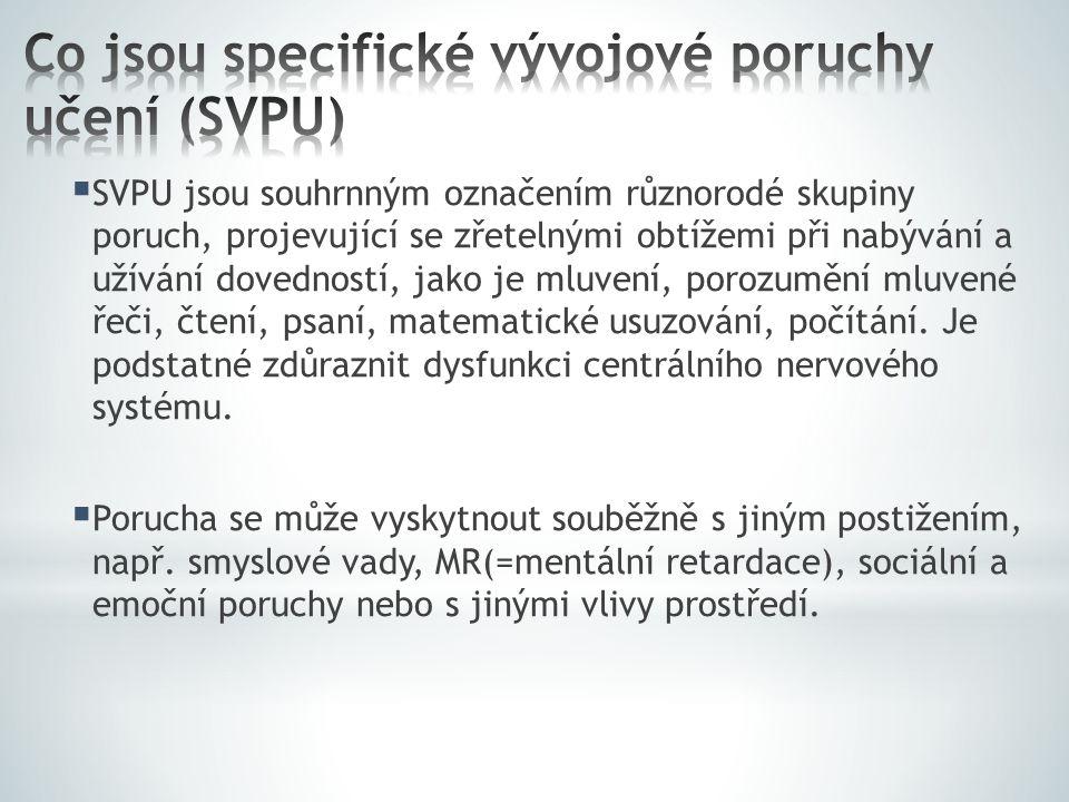 Co jsou specifické vývojové poruchy učení (SVPU)