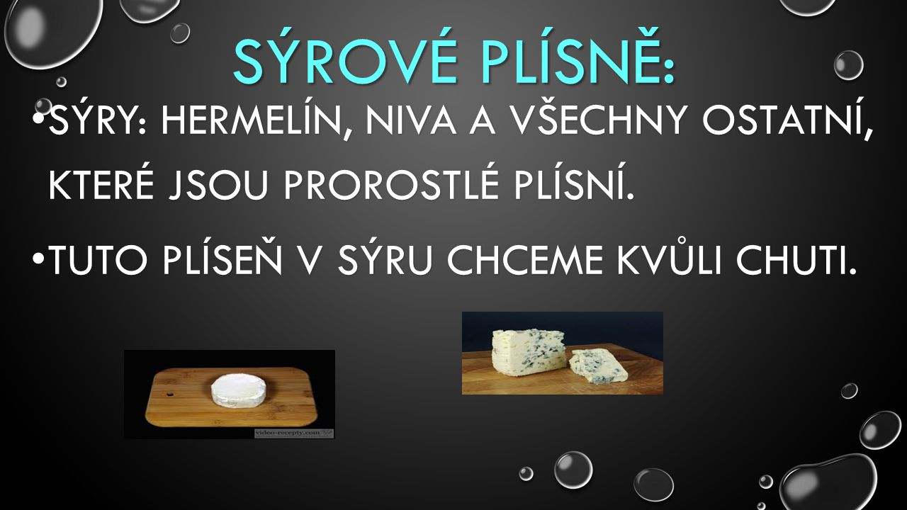 SÝROVÉ PLÍSNĚ: Sýry: hermelín, niva a všechny ostatní, které jsou prorostlé plísní.