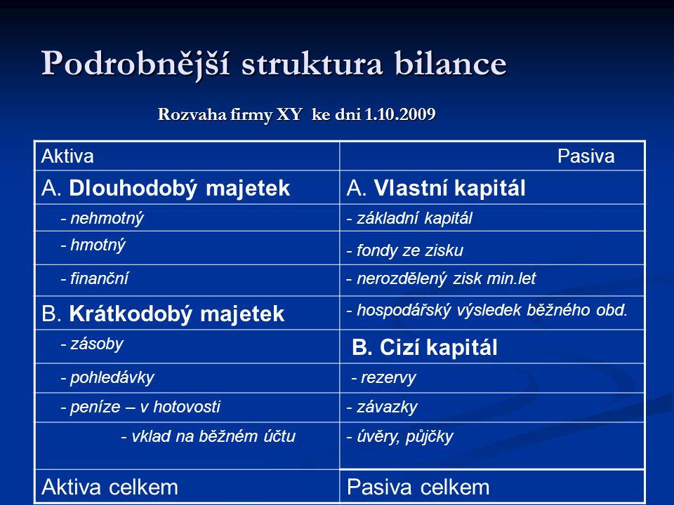 Podrobnější struktura bilance