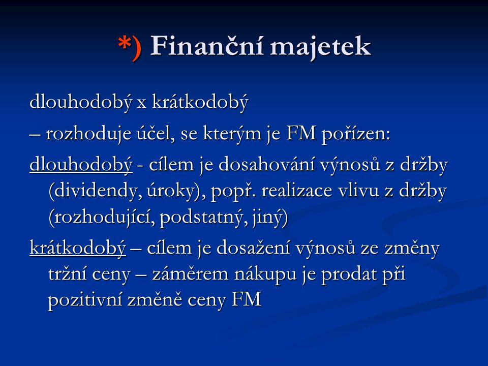 *) Finanční majetek dlouhodobý x krátkodobý