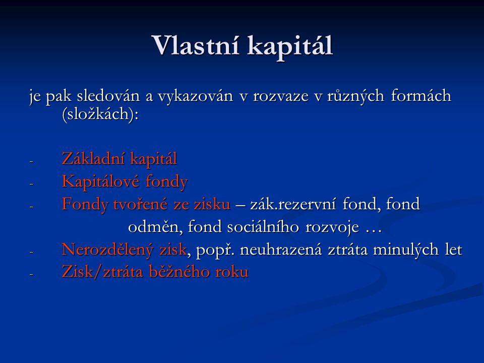 Vlastní kapitál je pak sledován a vykazován v rozvaze v různých formách (složkách): Základní kapitál.