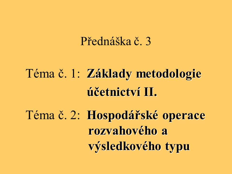 Téma č. 1: Základy metodologie účetnictví II.
