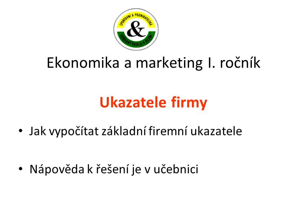 Ekonomika a marketing I. ročník Ukazatele firmy