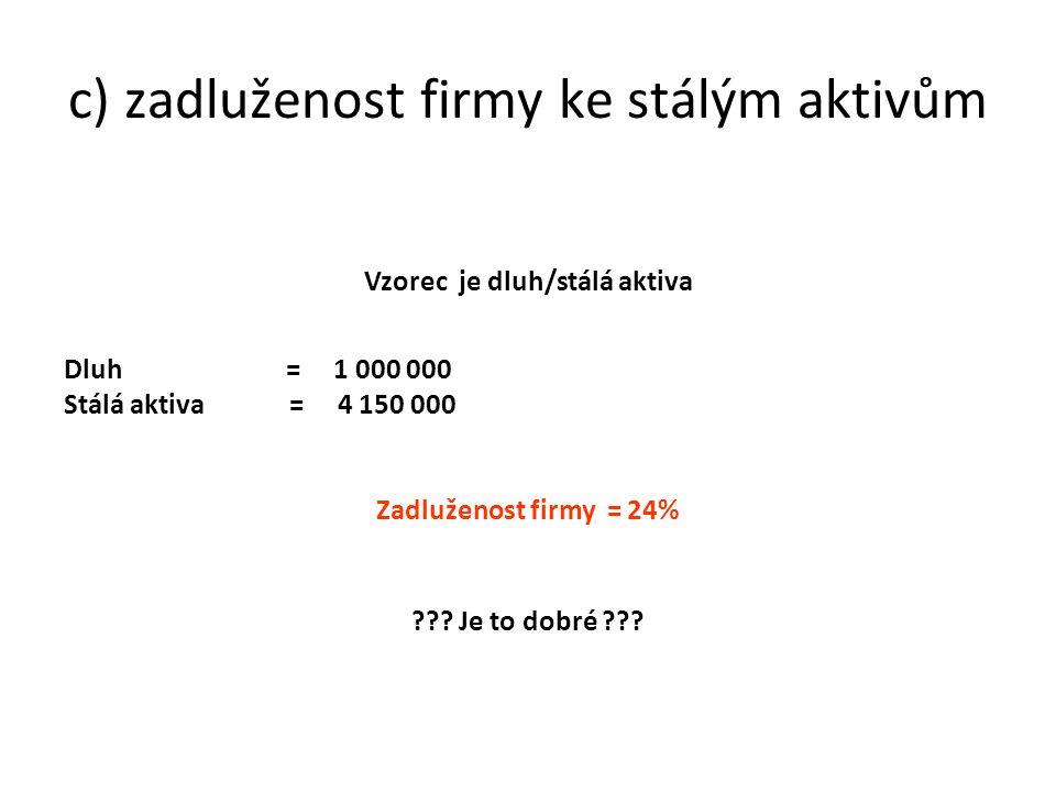 c) zadluženost firmy ke stálým aktivům