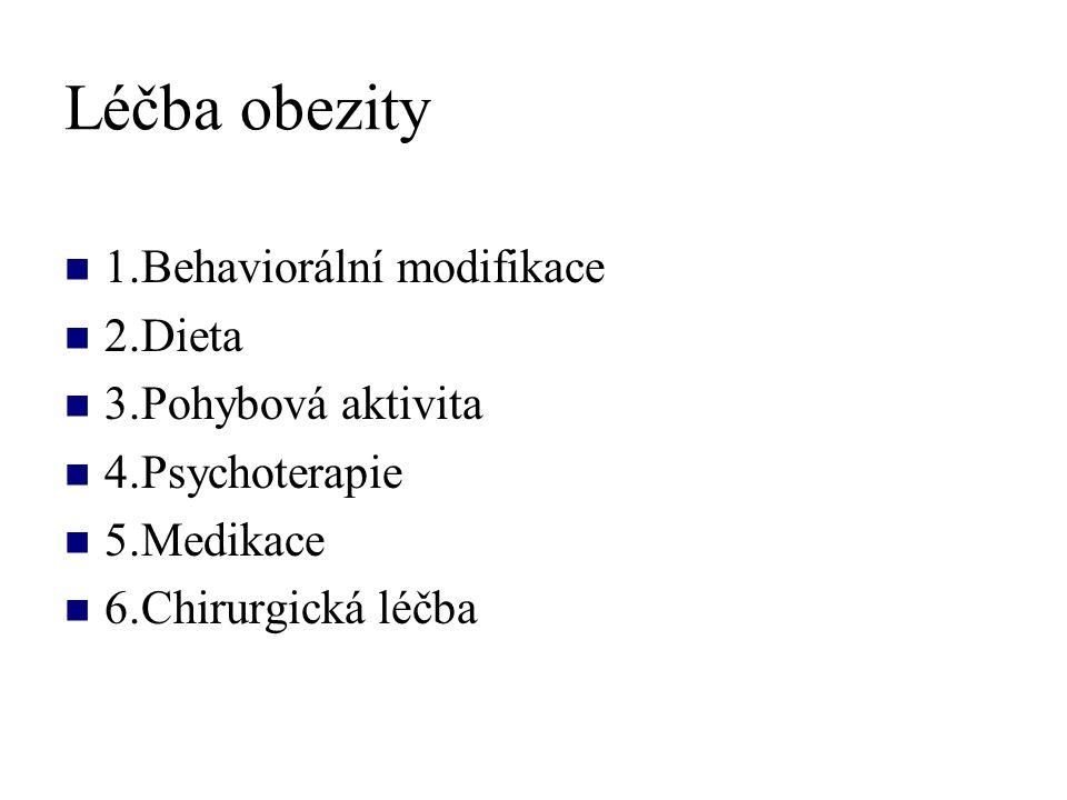 Léčba obezity 1.Behaviorální modifikace 2.Dieta 3.Pohybová aktivita
