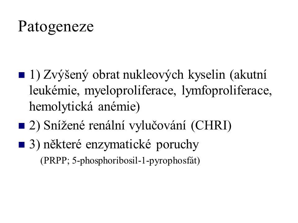 Patogeneze 1) Zvýšený obrat nukleových kyselin (akutní leukémie, myeloproliferace, lymfoproliferace, hemolytická anémie)