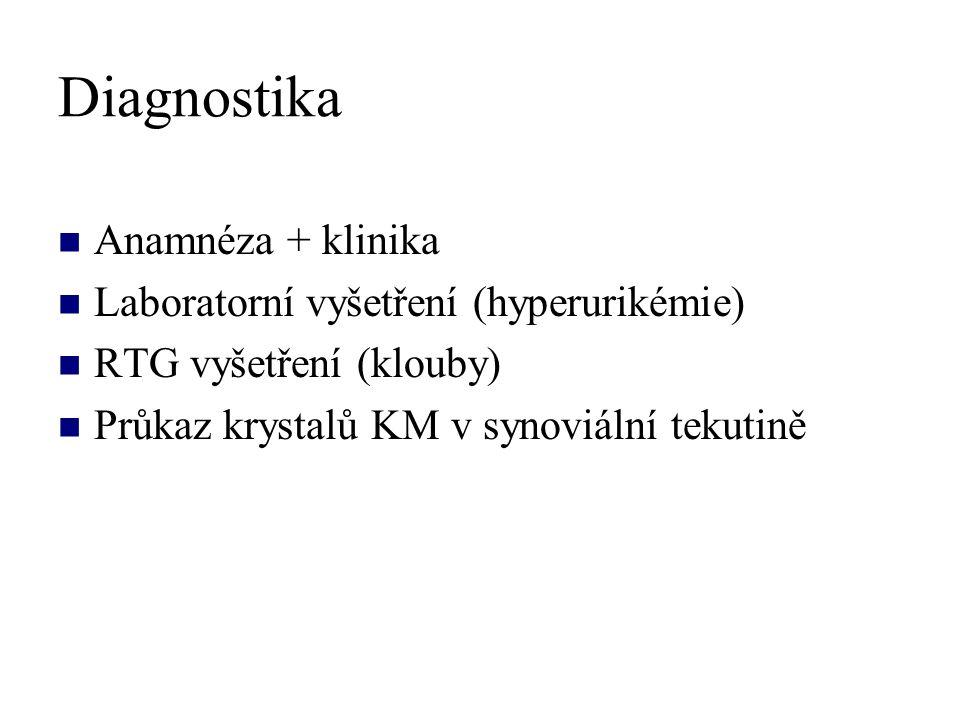 Diagnostika Anamnéza + klinika Laboratorní vyšetření (hyperurikémie)
