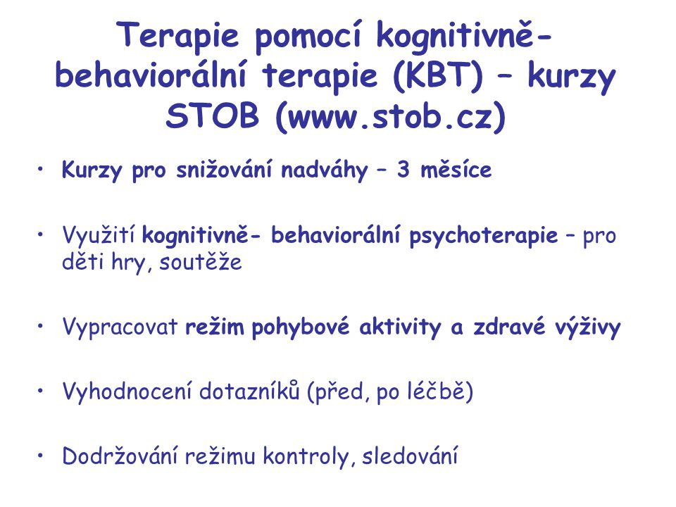 Terapie pomocí kognitivně-behaviorální terapie (KBT) – kurzy STOB (www