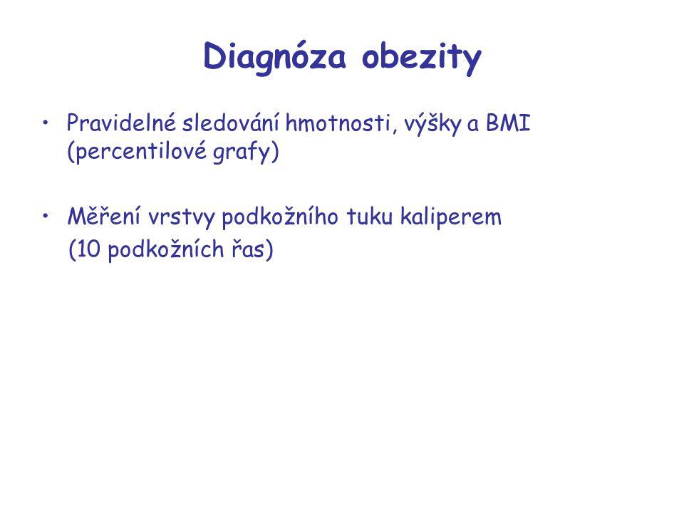Diagnóza obezity Pravidelné sledování hmotnosti, výšky a BMI (percentilové grafy) Měření vrstvy podkožního tuku kaliperem.