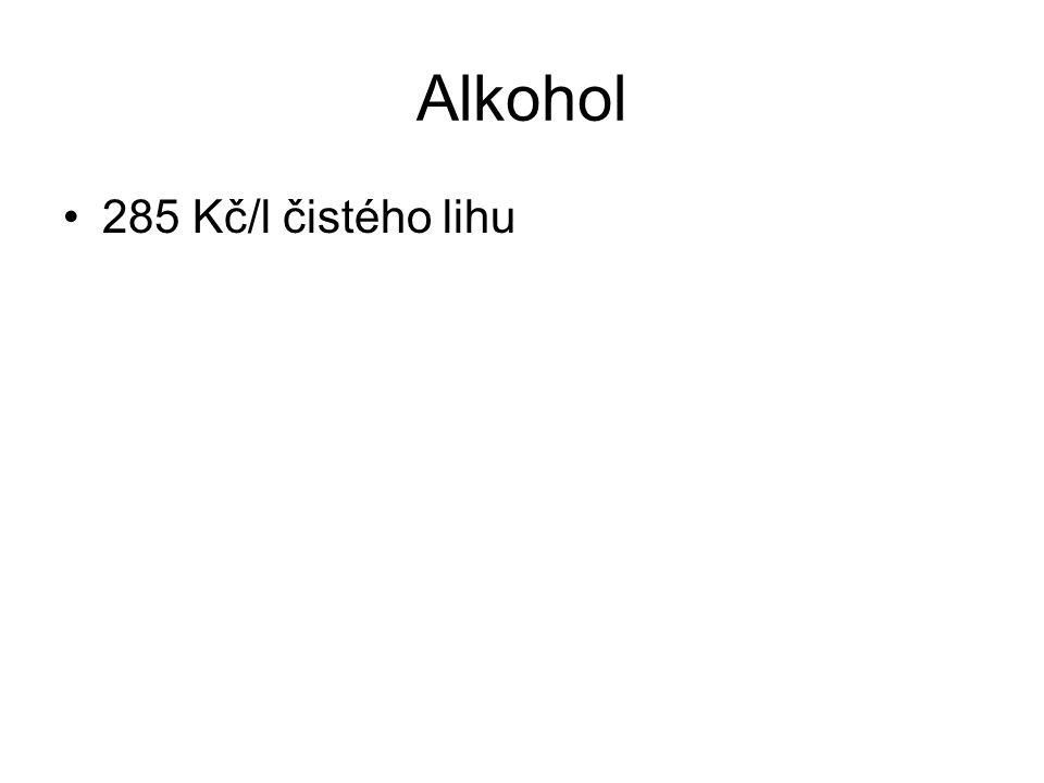 Alkohol 285 Kč/l čistého lihu