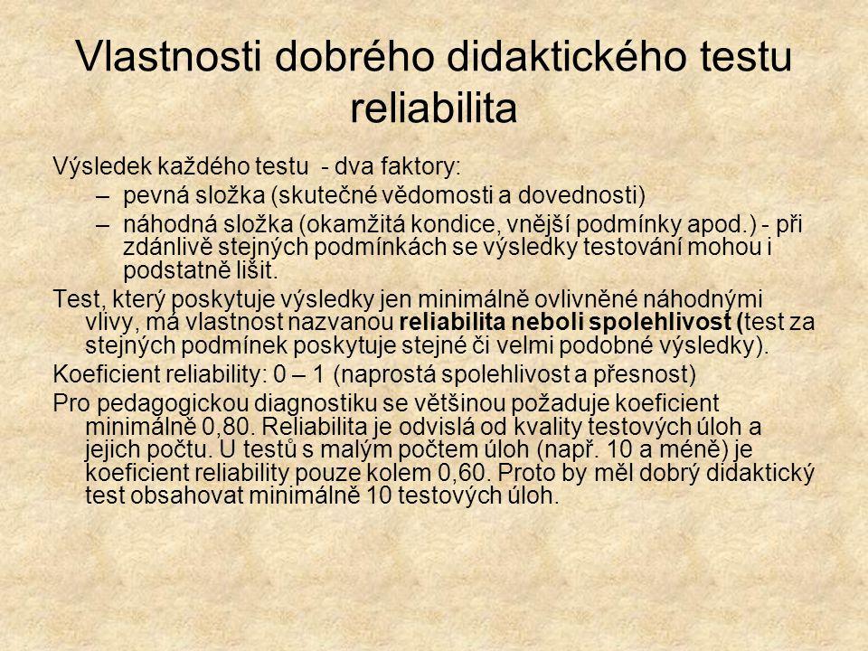 Vlastnosti dobrého didaktického testu reliabilita