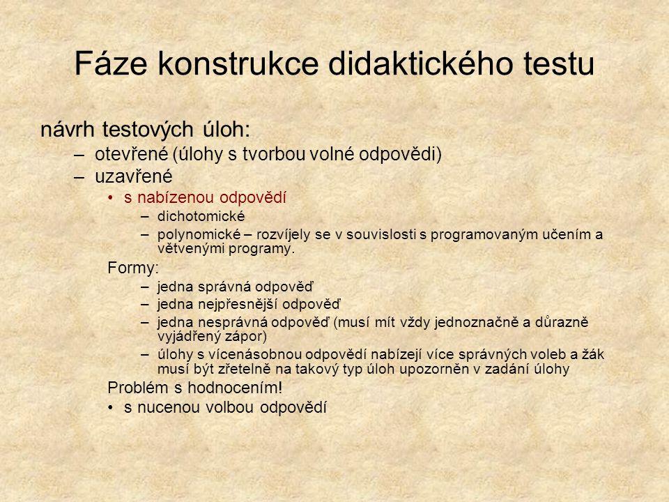 Fáze konstrukce didaktického testu