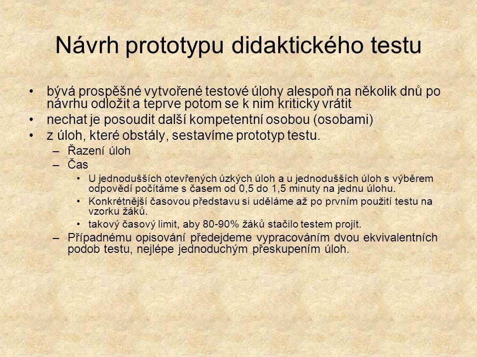 Návrh prototypu didaktického testu