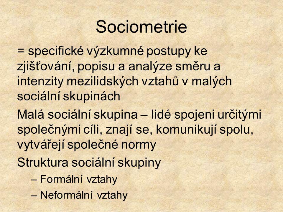 Sociometrie = specifické výzkumné postupy ke zjišťování, popisu a analýze směru a intenzity mezilidských vztahů v malých sociální skupinách.