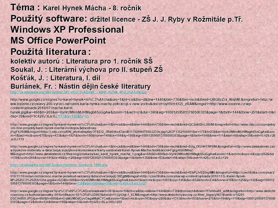Téma : Karel Hynek Mácha - 8. ročník
