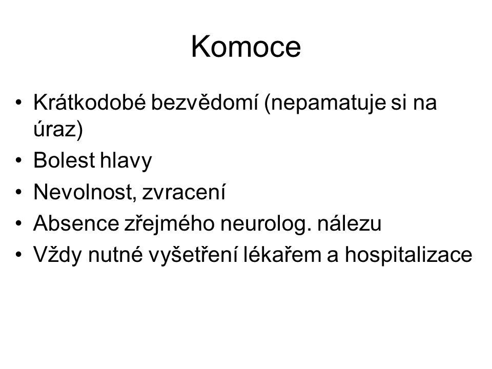 Komoce Krátkodobé bezvědomí (nepamatuje si na úraz) Bolest hlavy