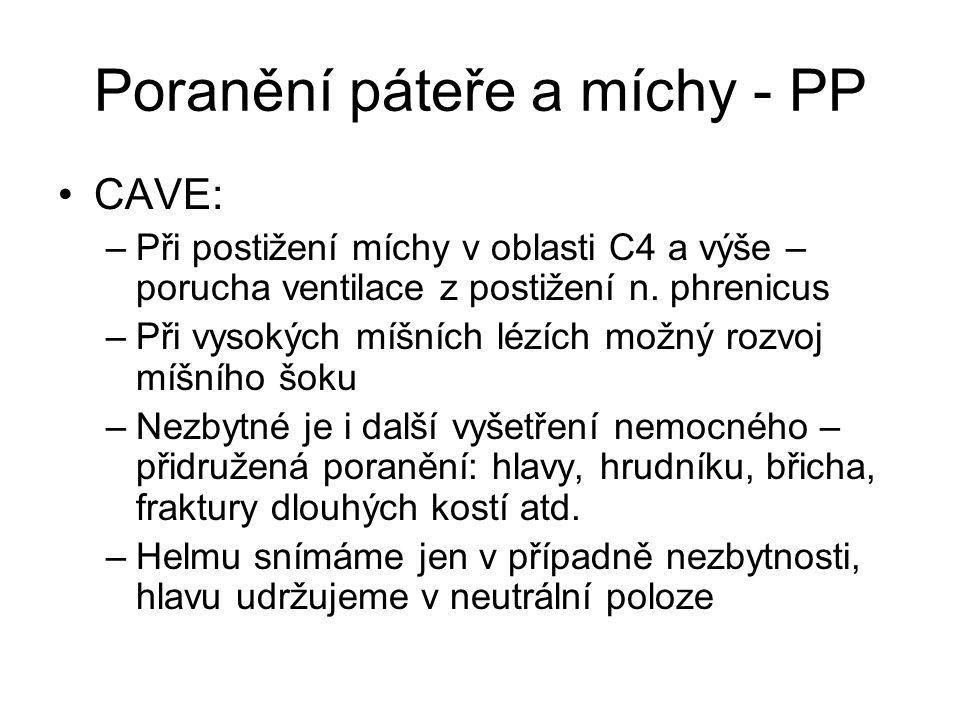 Poranění páteře a míchy - PP