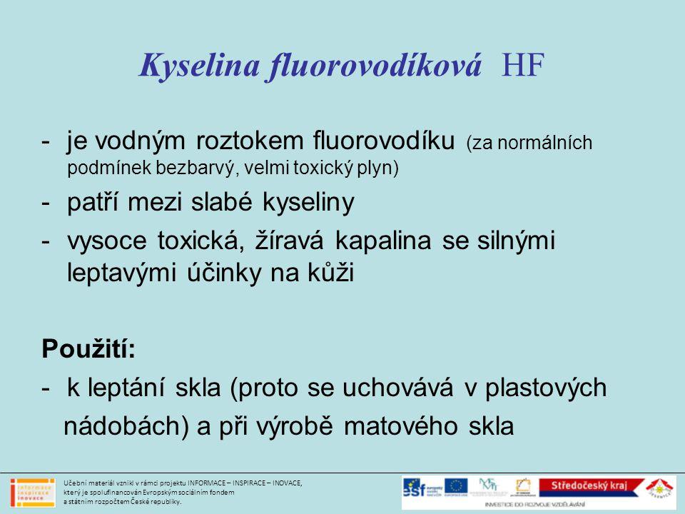 Kyselina fluorovodíková HF