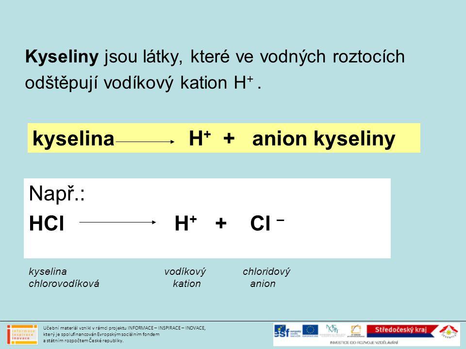 kyselina H+ + anion kyseliny