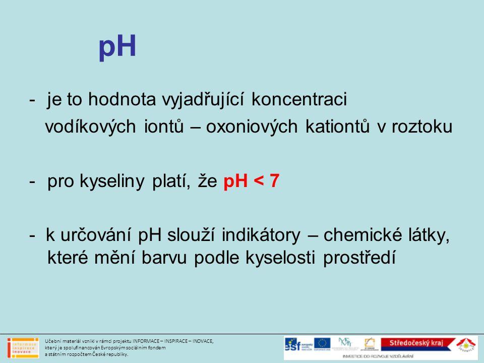 pH je to hodnota vyjadřující koncentraci