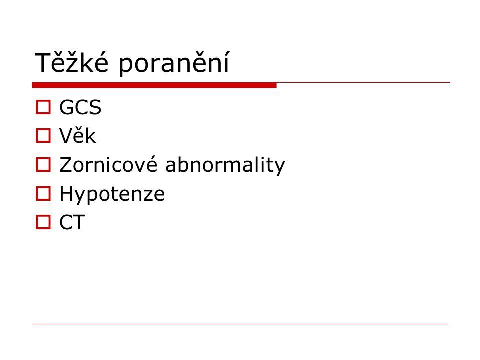 Těžké poranění GCS Věk Zornicové abnormality Hypotenze CT