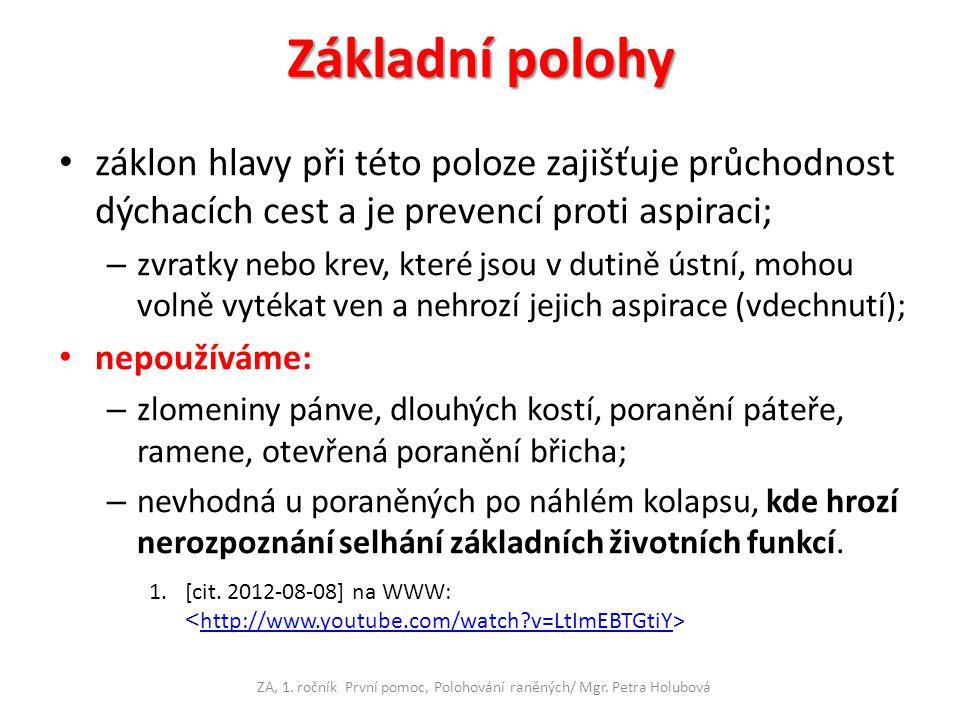 ZA, 1. ročník První pomoc, Polohování raněných/ Mgr. Petra Holubová