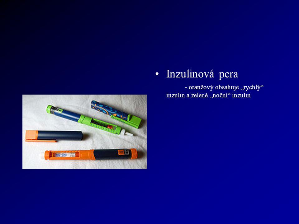 """Inzulinová pera - oranžový obsahuje """"rychlý inzulin a zelené """"noční inzulin"""
