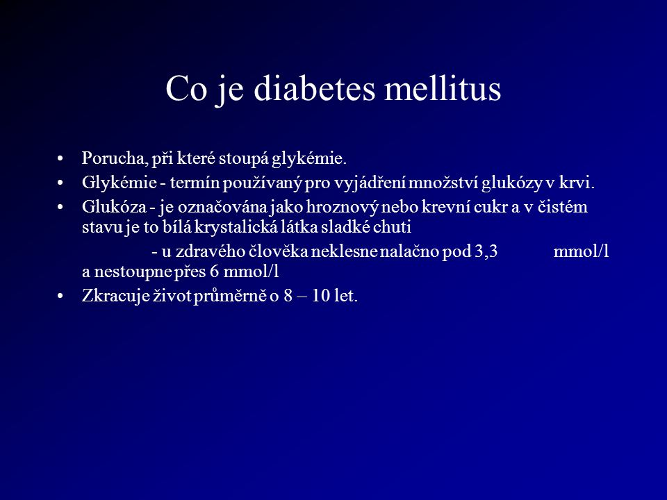 Co je diabetes mellitus